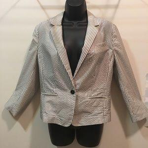 LOFT seersucker pin-stripe light blazer size 8